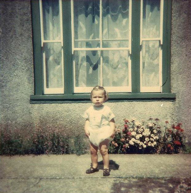 Julian as a toddler outside his grans house in Garn Fawr, Fishguard