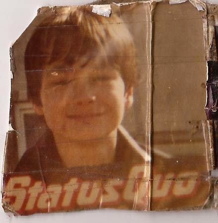 Julian aged 9/10 years old in Heol Preseli, Fishguard with Status Quo's 12 Gold Bars LP. This pic is a bit worn as it lives in his mums purse!!!
