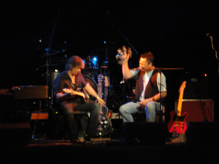 Julian and Marc Davies live on stage at The Queens Hall Narberth Wales UK  7th June 2013 suporting The Jay Tamkin Band